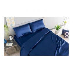 Σετ Παπλωματοθήκη με Μαξιλαροθήκη και Σεντόνι Σατέν 200 x 135 + 30 cm Μονή Χρώματος Μπλε SPM 30101020