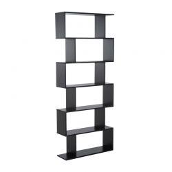 Ξύλινη Βιβλιοθήκη με 6 Ράφια 80 x 23 x 192 cm Χρώματος Μαύρο HOMCOM 833-382BK