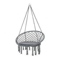 Αιώρα - Καρέκλα Πλεκτή με Μαξιλάρι και Σχοινιά 80 x 80 x 42 cm Macrame Outsunny 84A-194V70
