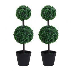 Σετ Τεχνητά Φυτά Πυξάρι 67 cm 2 τμχ Outsunny 844-264V01