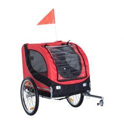 Αναδιπλούμενο Τρέιλερ Ποδηλάτου για Κατοικίδια 130 x 73 x 90 cm Χρώματος Κόκκινο PawHut B4-0003-007