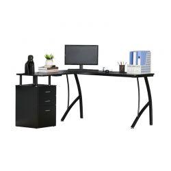 Γωνιακό Μεταλλικό Γραφείο Υπολογιστή με Ντουλάπι 143.5 x 143.5 x 76 cm Χρώματος Μαύρο HOMCOM 920-032V01BK