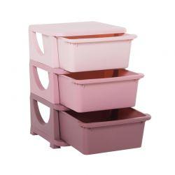 Παιδική Πλαστική Συρταριέρα με 3 Συρτάρια 37 x 37 x 56.5 cm Χρώματος Ροζ HOMCOM 311-023PK