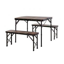 Σετ Πτυσσόμενο Μεταλλικό Τραπέζι Κάμπινγκ με 2 Πάγκους 90 x 60 x 40/70 cm Outsunny 84B-401