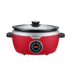 Ηλεκτρική Κατσαρόλα 3.5 Lt με Γυάλινο Καπάκι 190 W Slow Cooker Χρώματος Κόκκινο Turbotronic TT-SC100 Red