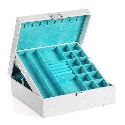 Κοσμηματοθήκη - Μπιζουτιέρα 26 x 26 x 10 cm Χρώματος Λευκό Songmics JDS305W