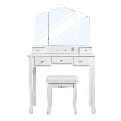 Ξύλινο Μπουντουάρ με Καθρέπτη και Σκαμπό 80 x 40 x 137.5 cm VASAGLE RDT28WT