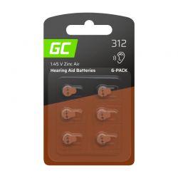 Σετ Μπαταρίες Ακουστικών Βαρηκοΐας 312 P312 PR41 ZL3 Zinc-Air 1.45 V 6 τμχ Green Cell HB01