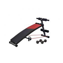 Πάγκος Κοιλιακών και Ασκήσεων Sit Up με 2 Λάστιχα Αντίστασης και 2 Αλτήρες 146 x 47.5 x 63 cm Hoppline HOP1001234