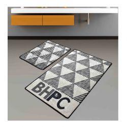 Σετ με 2 Χαλάκια Μπάνιου 60 x 100 cm Χρώματος Μαύρο - Εκρού Beverly Hills Polo Club Prisma DJT 587BHP2103