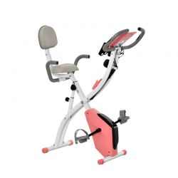 Αναδιπλούμενο Μαγνητικό Ποδήλατο Γυμναστικής με Ιμάντες Αντίστασης Χρώματος Ροζ HOMCOM A90-196PK