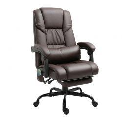 Καρέκλα Γραφείου Μασάζ 6 Σημείων με Υποπόδιο Χρώματος Σκούρο Καφέ Vinsetto 921-275BN