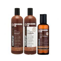 Σετ 3 προϊόντα λάδι macadamia για ξηρά μαλλιά Natural World