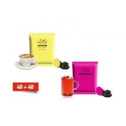 Κάψουλες Bernini Caffe Διπλής Γεύσης Cappucino και Τσάι 48+48 Τεμάχια