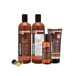 Σετ 4 Προϊόντα Λάδι Macadamia για Ξηρά Μαλλιά Natural World