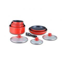 Σετ Μαγειρικής Herzberg 10 τμχ χρώματος κόκκινο HG-5000