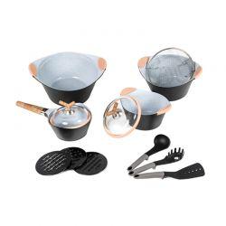 Σετ μαγειρικών σκευών Cecotec premium 13τμχ χρώματος μαύρο CEC-010350