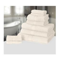 Σετ με 9 πετσέτες General από 100% premium αιγυπτιακό βαμβάκι χρώματος λευκό 9TOWEL