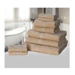 Σετ με 9 πετσέτες General από 100% premium αιγυπτιακό βαμβάκι χρώματος καφέ ανοιχτό 9TOWEL