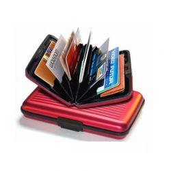 Ανθεκτικό πορτοφόλι αλουμινίου με RFID προστασία ασφαλείας χρώματος κόκκινο