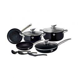 Σετ μαγειρικά σκεύη Blaumann 11 τμχ από ανοξείδωτο ατσάλι le chef line χρώματος μαύρο BL-3342