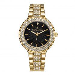 Γυναικείο Ρολόι Χρώματος Χρυσό με Μεταλλικό Μπρασελέ και Κρύσταλλα Swarovski® Timothy Stone G-015-ALGDBK