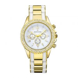 Γυναικείο Ρολόι Χρώματος Χρυσό-Άσπρο με Μεταλλικό Δίχρωμο Μπρασελέ και Κρύσταλλα Swarovski® Timothy Stone A-035-GDWH