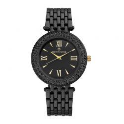 Γυναικείο Ρολόι Χρώματος Μαύρο με Μεταλλικό Μπρασελέ και Κρύσταλλα Swarovski® Timothy Stone B-024-ALBK