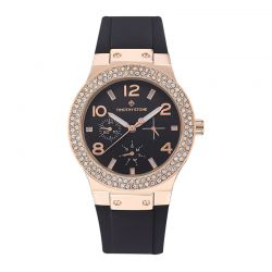 Γυναικείο Ρολόι Χρώματος Ροζ-Χρυσό με Μαύρο Λουράκι Σιλικόνης και Κρύσταλλα Swarovski® Timothy Stone F-011-RGBK