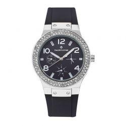 Γυναικείο Ρολόι Χρώματος Ασημί με Μαύρο Λουράκι Σιλικόνης και Κρύσταλλα Swarovski® Timothy Stone F-015-SLBK