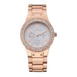 Γυναικείο Ρολόι Χρώματος Ροζ-Χρυσό με Μεταλλικό Μπρασελέ και Κρύσταλλα Swarovski® Timothy Stone F-021-ALRG
