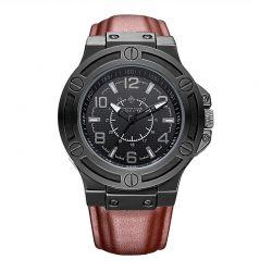 Ανδρικό Ρολόι με Καφέ Δερμάτινο Λουράκι Timothy Stone M-013-BKBR