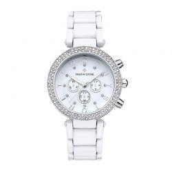 Γυναικείο Ρολόι Χρώματος Άσπρο με Μεταλλικό Μπρασελέ και Κρύσταλλα Swarovski® Timothy Stone D-021-ALWH