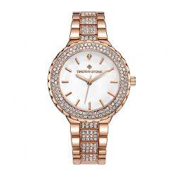 Γυναικείο Ρολόι Χρώματος Ροζ-Χρυσό με Μεταλλικό Μπρασελέ και Κρύσταλλα Swarovski® Timothy Stone G-011-ALRGWH