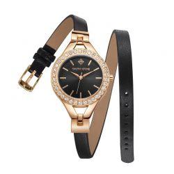 Γυναικείο Ρολόι Χρώματος Χρυσό με Δερμάτινο Μαύρο Λουράκι και Κρύσταλλα Swarovski® Timothy Stone J-014-LTWRG