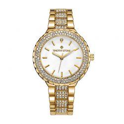 Γυναικείο Ρολόι Χρώματος Χρυσό με Μεταλλικό Μπρασελέ και Κρύσταλλα Swarovski® Timothy Stone G-012-ALGDWH