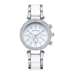 Γυναικείο Ρολόι Χρώματος Άσπρο-Γκρι με Μεταλλικό Δίχρωμο Μπρασελέ και Κρύσταλλα Swarovski® Timothy Stone D-013-ALSLWH