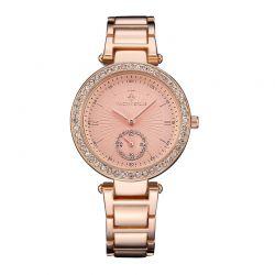 Γυναικείο Ρολόι Χρώματος Ροζ-Χρυσό με Μεταλλικό Μπρασελέ και Κρύσταλλα Swarovski® Timothy Stone E-011-ALRG