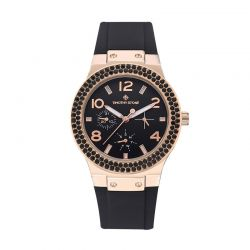 Γυναικείο Ρολόι Χρώματος Ροζ-Χρυσό με Μαύρο Λουράκι Σιλικόνης και Κρύσταλλα Swarovski® Timothy Stone F-031-RGBK