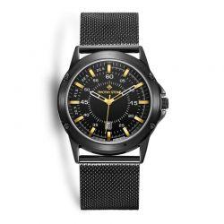 Ανδρικό Ρολόι Χρώματος Μαύρο με Μεταλλικό Μπρασελέ Timothy Stone N-011-ALMBK