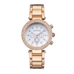 Γυναικείο ρολόι χρώματος ροζ-χρυσό με μεταλλικό ανοξείδωτο μπρασελέ και κρύσταλλα Swarovski® Timothy Stone D-031-ALRG
