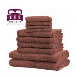 Σετ με 10 Πετσέτες Dickens από 100% Αιγυπτιακό Βαμβάκι Χρώματος Καφέ DTOWEL-10CH