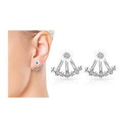 Σκουλαρίκια Philip Jones Χρώματος Ασημί με Μαργαρίτες και Κρύσταλλα Swarovski®