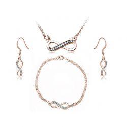 Σετ Κοσμήματα Timothy Stone 4 τμχ Χρώματος Ροζ - Χρυσό με Κρύσταλλα Swarovski® Aqua