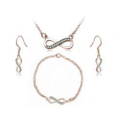 Σετ Κοσμήματα Timothy Stone 4 τμχ Χρώματος Ροζ - Χρυσό με Κρύσταλλα Swarovski® Emeraude