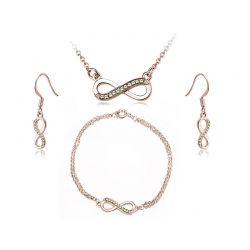Σετ Κοσμήματα Timothy Stone 4 τμχ Χρώματος Ροζ - Χρυσό με Κρύσταλλα Swarovski® Jaune