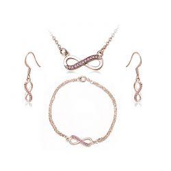 Σετ Κοσμήματα Timothy Stone 4 τμχ Χρώματος Ροζ - Χρυσό με Κρύσταλλα Swarovski® Rose