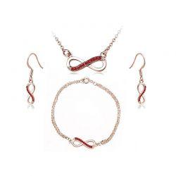 Σετ Κοσμήματα Timothy Stone 4 τμχ Χρώματος Ροζ - Χρυσό με Κρύσταλλα Swarovski® Ruby