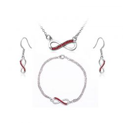Σετ Κοσμήματα Timothy Stone 4 τμχ Χρώματος Ασημί με Κρύσταλλα Swarovski® Ruby