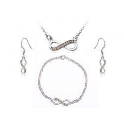 Σετ Κοσμήματα Timothy Stone 4 τμχ Χρώματος Ασημί με Κρύσταλλα Swarovski® Topaz